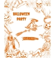 Halloween sketch characters and elements vector image
