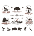 Wild animal badges set and outdoors activity vector image