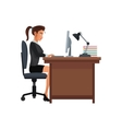 woman business workplace desk computer lamp vector image