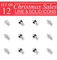 christmas sales with ribbons line icons vector image