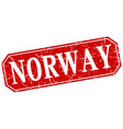 Norway red square grunge retro style sign vector image