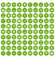 100 virtual icons hexagon green vector image