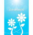 White flower on blue sky summer background vector image