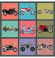 Set of nine icons of motorbikes vector image