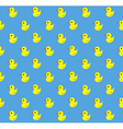 Yellow rubber duck pattern on blue background vector image