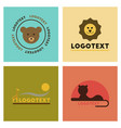 assembly flat icons nature logo bear lion giraffe vector image