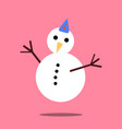 christmas snowman icon with long shadow vector image