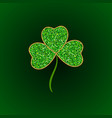 green glitter leaf clover icon happy vector image