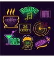 Neon Signs of Cafe Hotel and Bar Isolated vector image