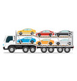 trailer transports cars with new auto vector image