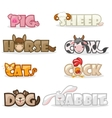 funny cute animal text name vector image