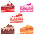Five pieces of cake vector image vector image