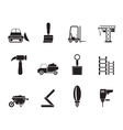 Silhouette Building and Construction equipment vector image vector image
