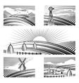 Retro rural landscapes vector image
