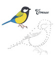 Educational game connect the dots to draw bird vector image