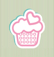 Card with a cream cake with pink and green bubles vector image