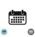 Calendar simple black icon Soft rounded corners vector image