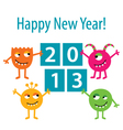 Happy monsters 2013 card vector image