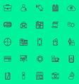 Mobile line violet color icons vector image