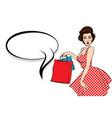 pop art brunette woman hold bag vector image