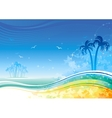 Sea background with island and palms vector image
