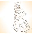 silhouette of beautiful woman in dress vector image