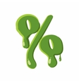 Percent sign made of green slime vector image