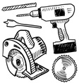 doodle power tools vector image vector image