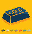 Flat design bullion gold vector image
