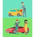 Man Repair Car Rich People Near Luxury Auto vector image