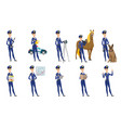 set of police woman characters vector image