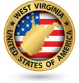 West virginia state gold label with state map vector image vector image