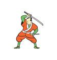 Samurai Warrior Wielding Katana Sword Cartoon vector image vector image