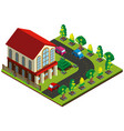3d design for house and road with cars vector image