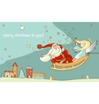 santa claus and christmas angel in sleigh new year vector image vector image