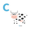 Letter C Cow Zoo alphabet English abc with animals vector image vector image