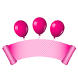 pink scroll with balloons vector image