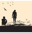 a boy and a girl on the beach vector image