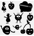 Cartoon funny monsters silhouettes vector image