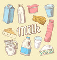dairy products hand drawn doodle with milk vector image