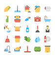flat icon set of laundry and bathroom cleaners vector image