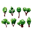 Green 3D polygonal trees icons vector image