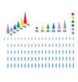set of 3d isometric pyramid percentage bar chart vector image