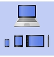 Set of realistic laptop tablet computer and vector image