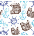ship anchor treasure chest and steering wheel vector image