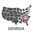 state of georgia on map of usa vector image