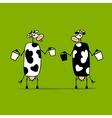 Cute cows with buckets of milk sketch vector image