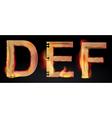 burning letters DEF vector image