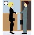 Businessman and businesswoman shake hands vector image vector image