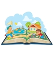 Young children studying nature as an open book vector image